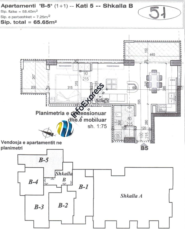 TRS-416-441 Apartament 1+1 ne shitje  prane Shkembit te Kavajes